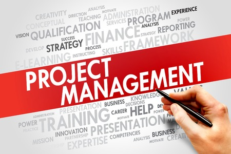 estimating: Project Management word cloud, business concept Stock Photo