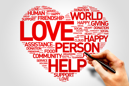 charity relief work: Love, Charity and Productivity Heart word cloud concept Stock Photo
