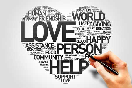 donating: Love, Charity and Productivity Heart word cloud concept Stock Photo
