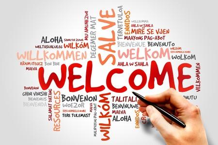 the welcome: BIENVENIDOS nube de palabras en diferentes idiomas, concepto de negocio