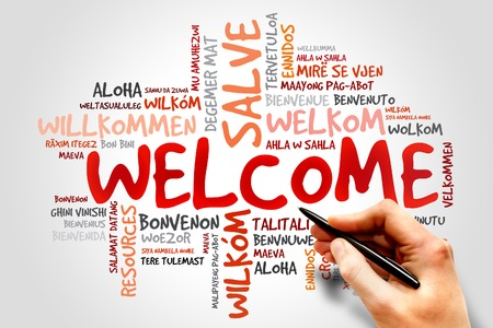 word clouds: WELCOME word cloud in different languages, business concept Stock Photo