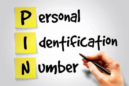 personal identification number: Personal Identification Number (PIN) sticky note, business concept acronym