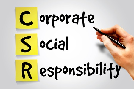 csr: Corporate Social Responsibility (CSR) nota adesiva, concetto di business acronimo