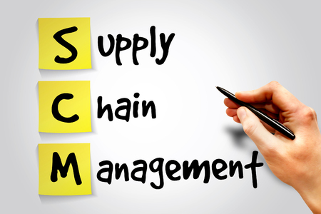 scm: Supply Chain Management (SCM) sticky note, business concept acronym
