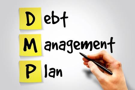 debt management: Debt Management Plan (DMP) sticky note, business concept acronym