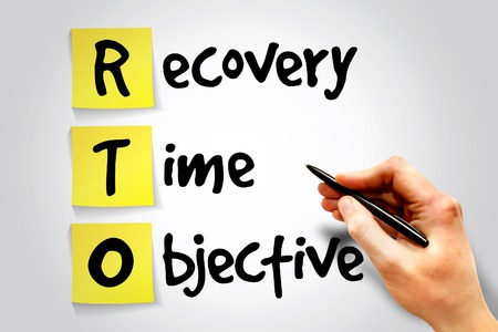 Recovery Time Objective (RTO) sticky note, business concept acronym photo