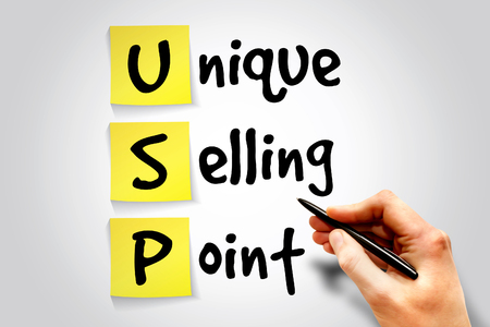 unique selling proposition: Unique Selling Point (USP) sticky note, business concept acronym Stock Photo