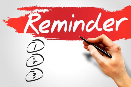 implication: Reminder blank list, business concept