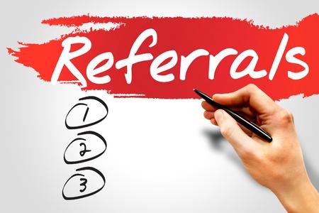 referrals: Referrals blank list, business concept
