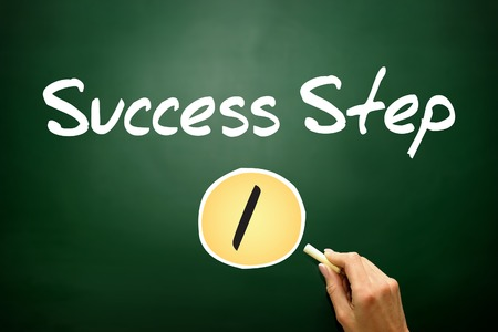 1 Success Step , business concept on blackboard photo