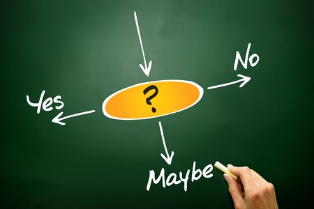 Making decision Yes, No, or Maybe, business concept on blackboard photo