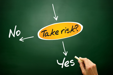 assessing: Take the RISK or not decide diagram, business concept on blackboard Stock Photo