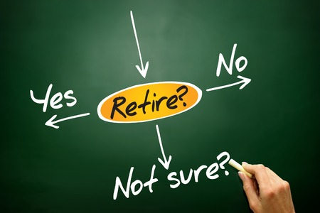 The risk to take the retirement, decide diagram, business concept on blackboard photo