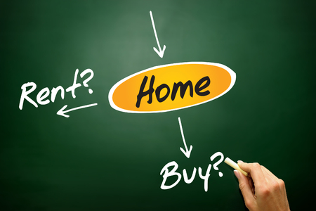 Decide buy or rent for the home, business concept on blackboard photo