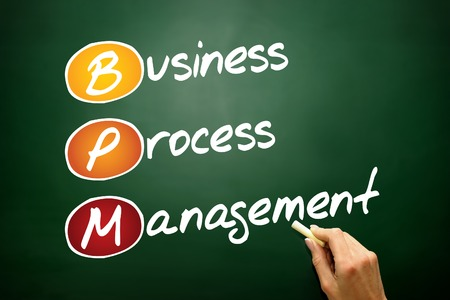 bpm: Business process management ( BPM ) acronym, concept on blackboard