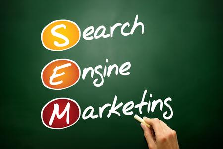 sem: SEM Search Engine Marketing acronym, business concept on blackboard