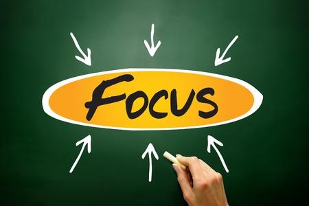 distinctness: Focus arrows directions, business concept on blackboard Stock Photo