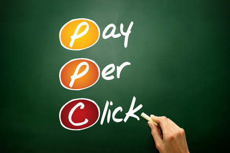 acquiring: Pay per click PPC, business concept acronym on blackboard