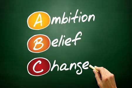 Cambiar Creencias Ambition (ABC), concepto de negocio sigla en la pizarra