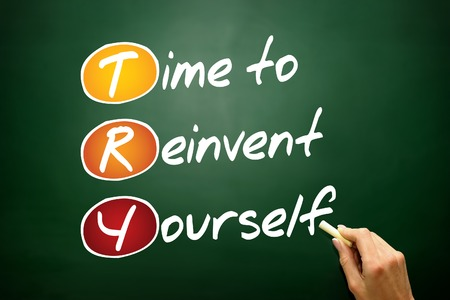 try: Time to Reinvent Yourself (TRY), business concept on blackboard