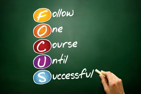 focus on the goal: FOCUS, business concept acronym on blackboard