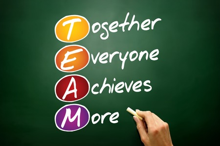 achieves: Together Everyone Achieves More (TEAM), business concept acronym on blackboard