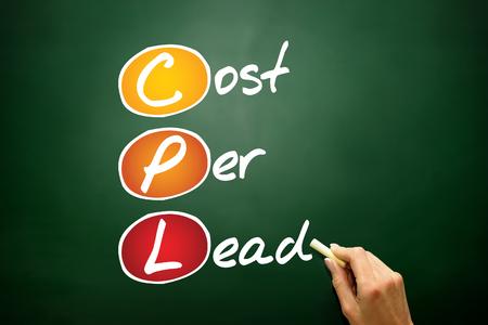 cpl: Cost Per Lead (CPL), business concept acronym on blackboard Stock Photo