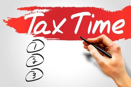 impuestos: TIEMPO DE IMPUESTOS lista en blanco, concepto de negocio