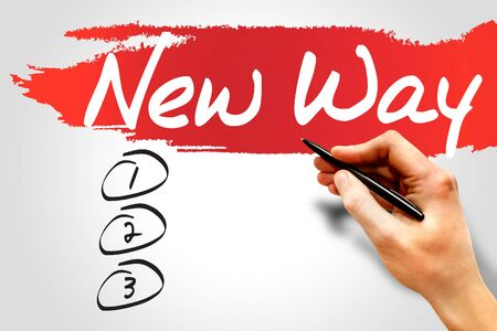 new way: NEW WAY blank list, business concept