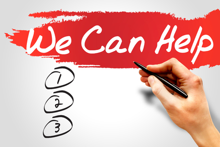 can we help: We Can Help blank list, business concept Stock Photo