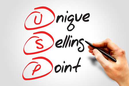 selling points: Unique Selling Point (USP), business concept acronym Stock Photo