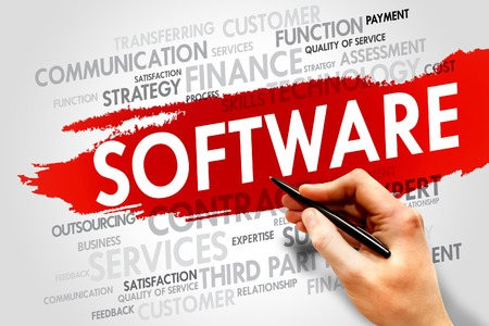 compiler: Software word cloud, business concept Stock Photo