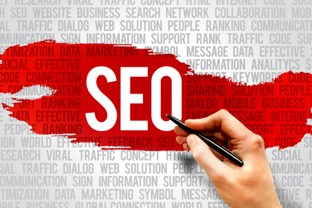 Seo, search engine optimazion word cloud, business concept