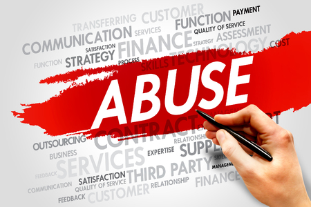 payola: ABUSE word cloud, business concept Stock Photo