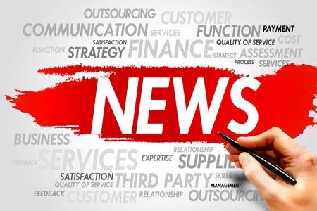 news values: NEWS word cloud, business concept