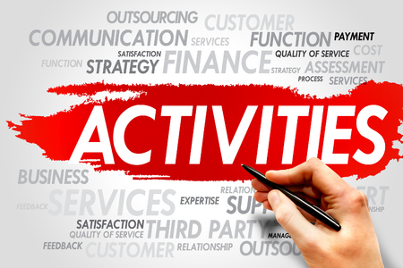 interactions: ACTIVITIES word cloud, business concept