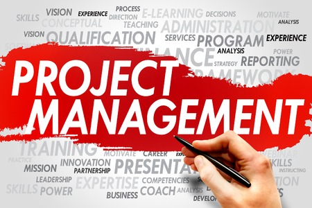 business project: Project Management word cloud, business concept Stock Photo