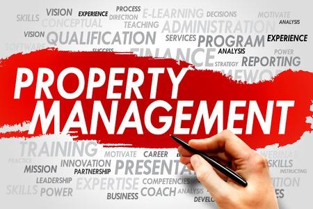 gestion empresarial: Gesti�n de la propiedad palabra nube, concepto de negocio Foto de archivo