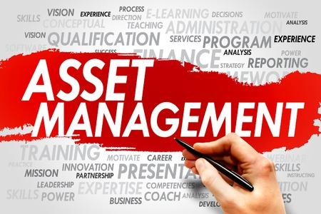 자산 관리 단어 구름, 비즈니스 개념