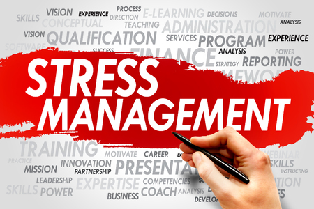 potentially: Stress Management word cloud, business concept Stock Photo