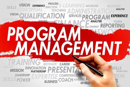 gerente: Gesti�n de Programas palabra nube, concepto de negocio