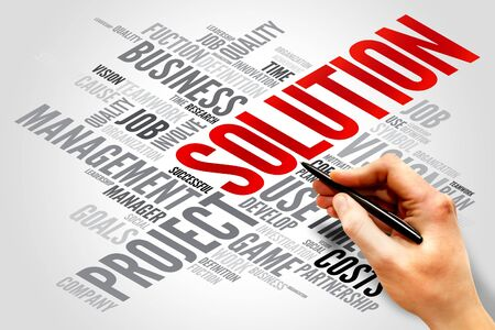 describes: SOLUTION word cloud, business concept Stock Photo