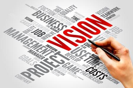 mision: VISI�N nube de la palabra, concepto de negocio