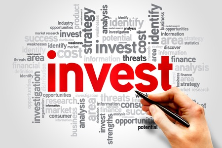 Invest word cloud, business concept Standard-Bild