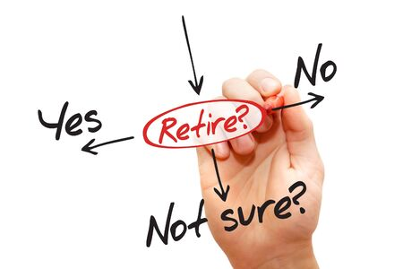 determine: The risk to take the retirement, decide business concept Stock Photo