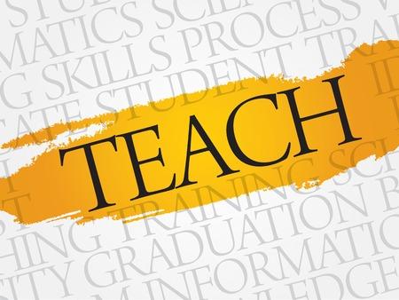 facilitating: TEACH word cloud, education business concept Illustration