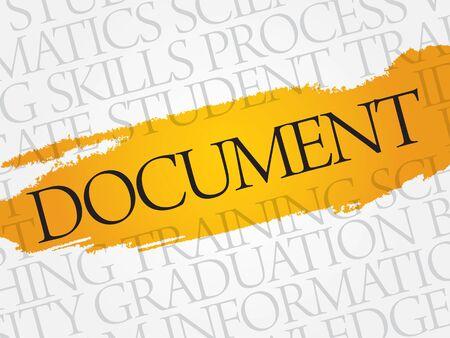 postscript: DOCUMENT word cloud, education business concept