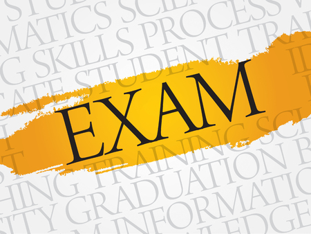 ability to speak: EXAM word cloud, education business concept Illustration