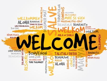 the welcome: Bienvenido en diferentes idiomas palabra nube, concepto de negocio