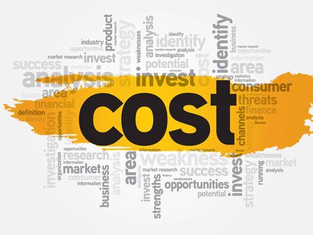 time deficit: Cost word cloud, business concept